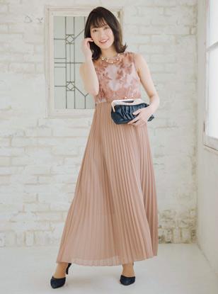 [M] 花柄刺繍シアーレース切替えシフォンプリーツワンピース ピンク