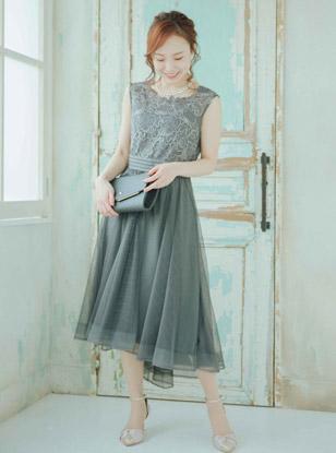 [M] ノースリーブ刺繍切り替えチュールスカートフィット&フレアワンピース ダークグリーン