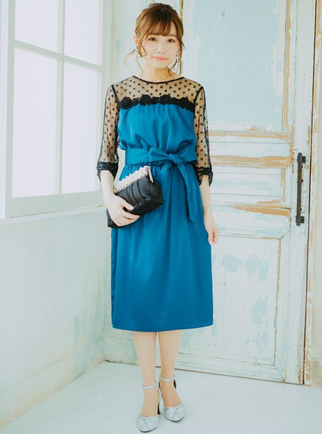 [M] リボンデザイン七分袖ドット柄胸切替チュールワンピース ブルー