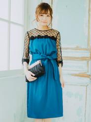 【レンタル】[M] リボンデザイン七分袖ドット柄胸切替チュールワンピース ブルー