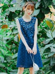 【レンタル】[S] ノースリーブチュール刺繍ワンピース