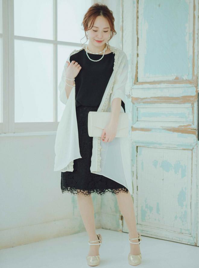 [M]【Web限定特価】異素材切替ブラウジングレーススカートワンピース