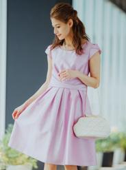 【レンタル】[L] シャンタンフレンチスリーブワンピース ピンク