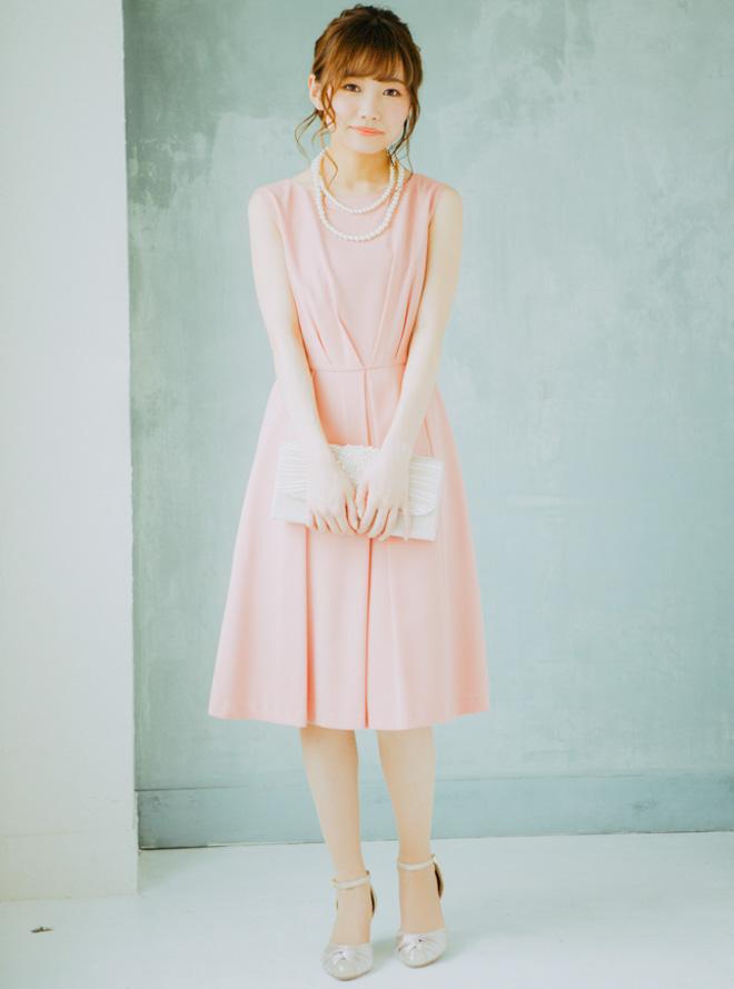[L] 【Web限定特価】バックリボン&レースワンピース ピンク