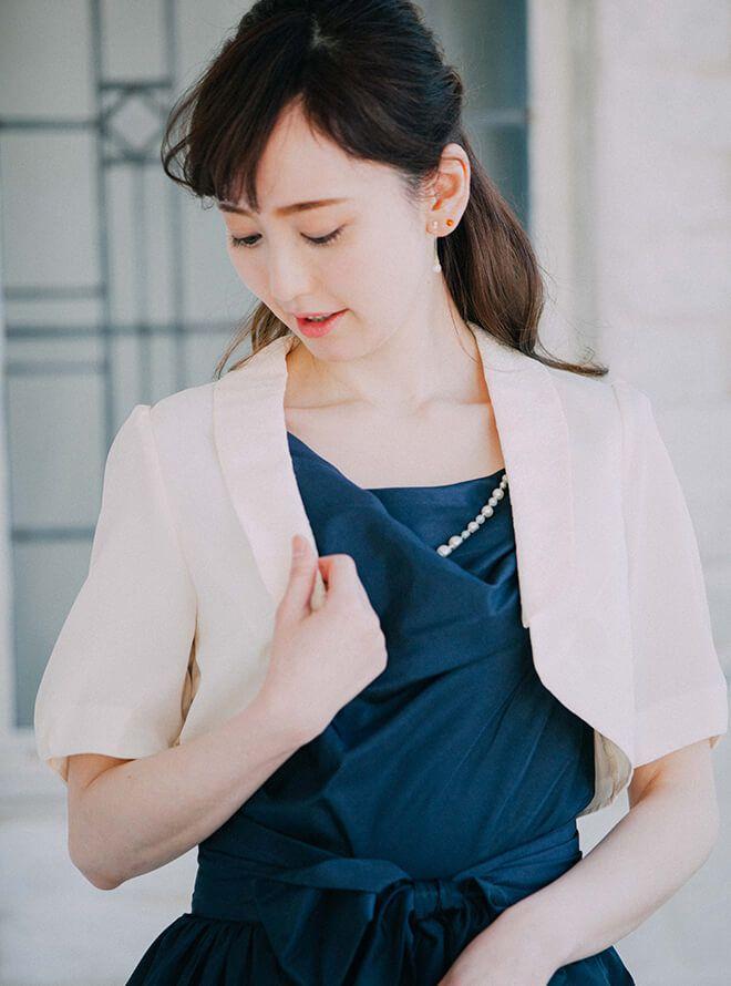 【レンタル】[M] レース襟付五分袖ジャケット