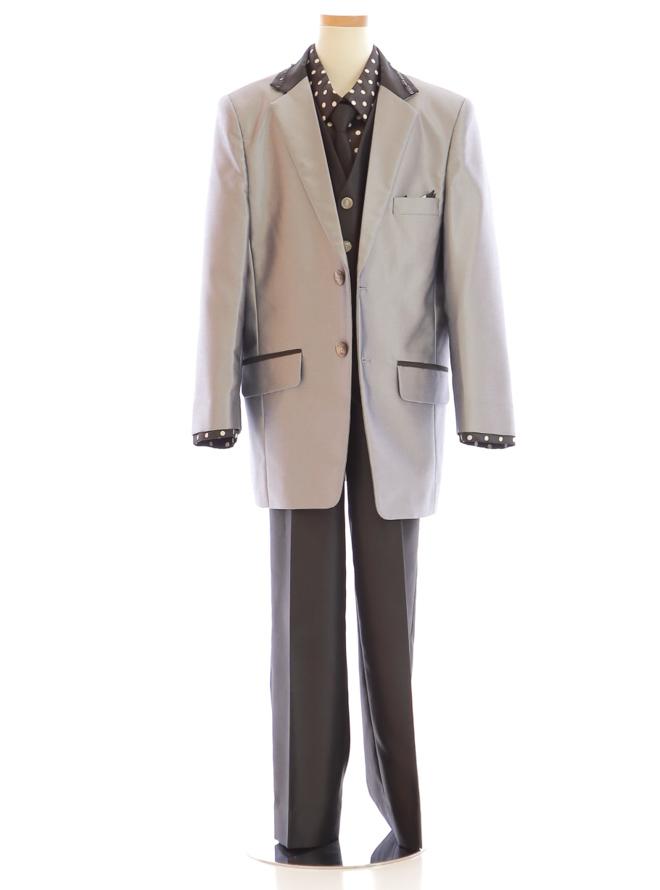 [140cm] 男児用スーツ027 シルバー