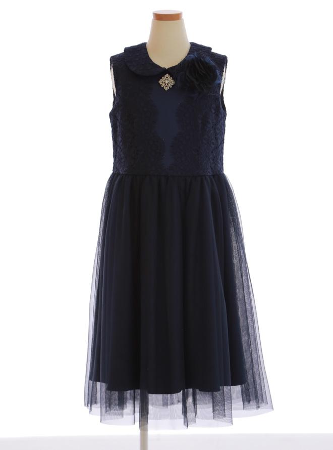 [130cm] 女児用ドレス028 ネイビー