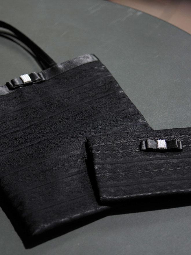 【2点セット】サブバック(レース)&袱紗 ブラック