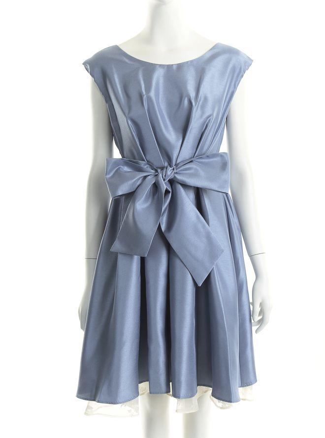 [M] ノースリーブサッシュベルト付きサテンシフォンレイヤードドレス ブルー