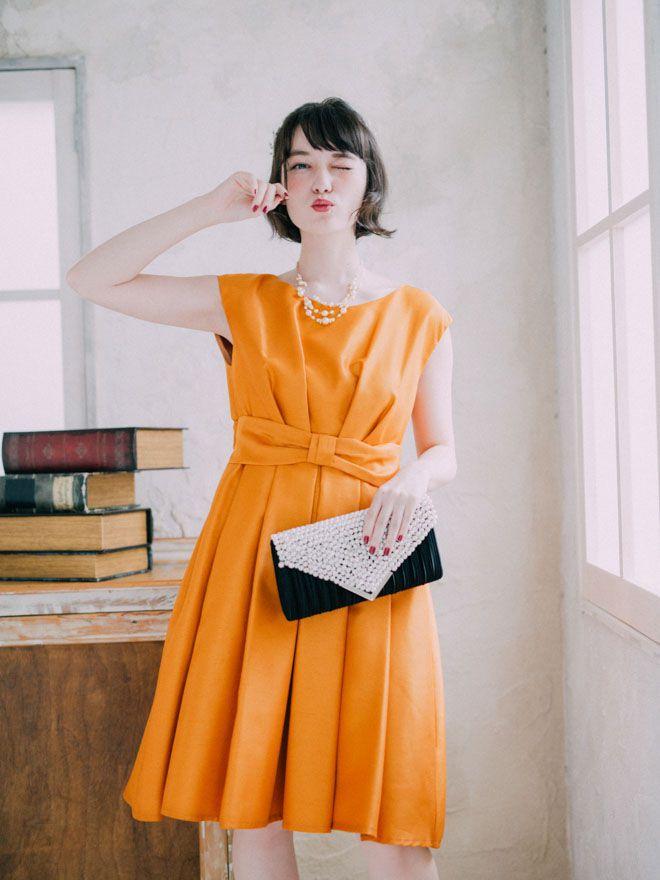 [M] ノースリーブウエストリボンサテンワンピース オレンジ