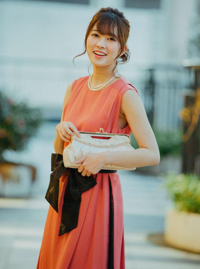 [M] 【授乳対応】ノースリーブサッシュベルト付サイドレースワンピース オレンジピンク