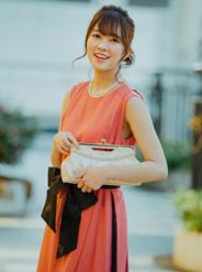 [M] 《授乳対応》ノースリーブサッシュベルト付サイドレースワンピース オレンジピンク
