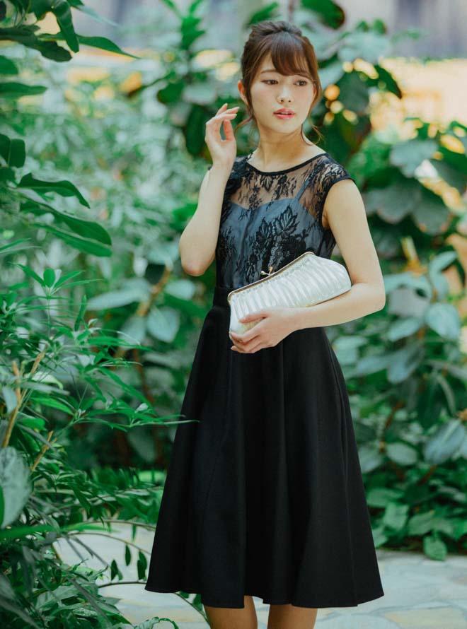 [M] ノースリーブ花柄刺繍レースウエスト切替ワンピース ブラック