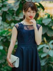 [M] ノースリーブ花柄刺繍レースウエスト切替ワンピース ネイビー