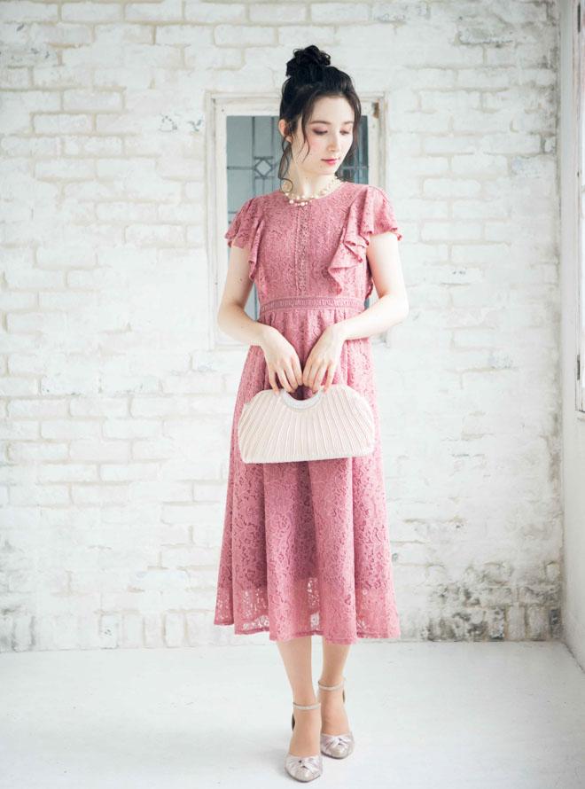 [M] フレア袖総レースロングワンピース ピンク