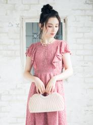 【レンタル】[M] フレア袖総レースロングワンピース ピンク