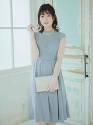 [M] 花刺繍ウエスト切替ドレス グレー