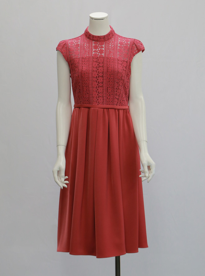 【レンタル】[M] 花刺繍ウエスト切替ドレス ピンク