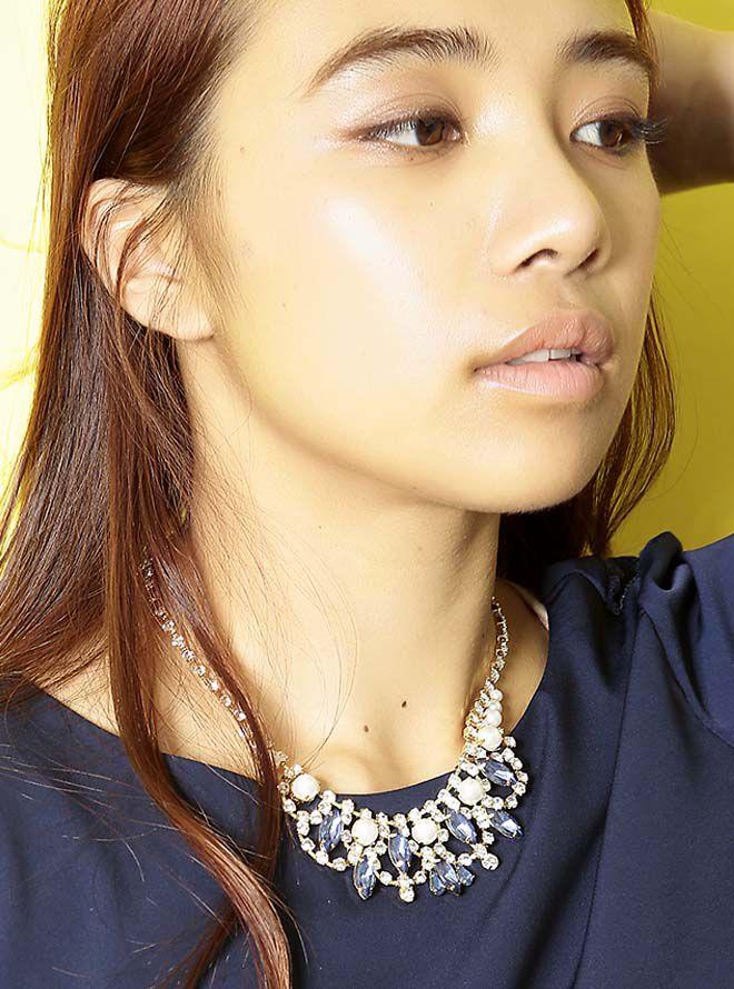 【レンタル】ダイヤパールビジュネックレス51cm/ビジュ9mm~1.5cm単品 ネイビー
