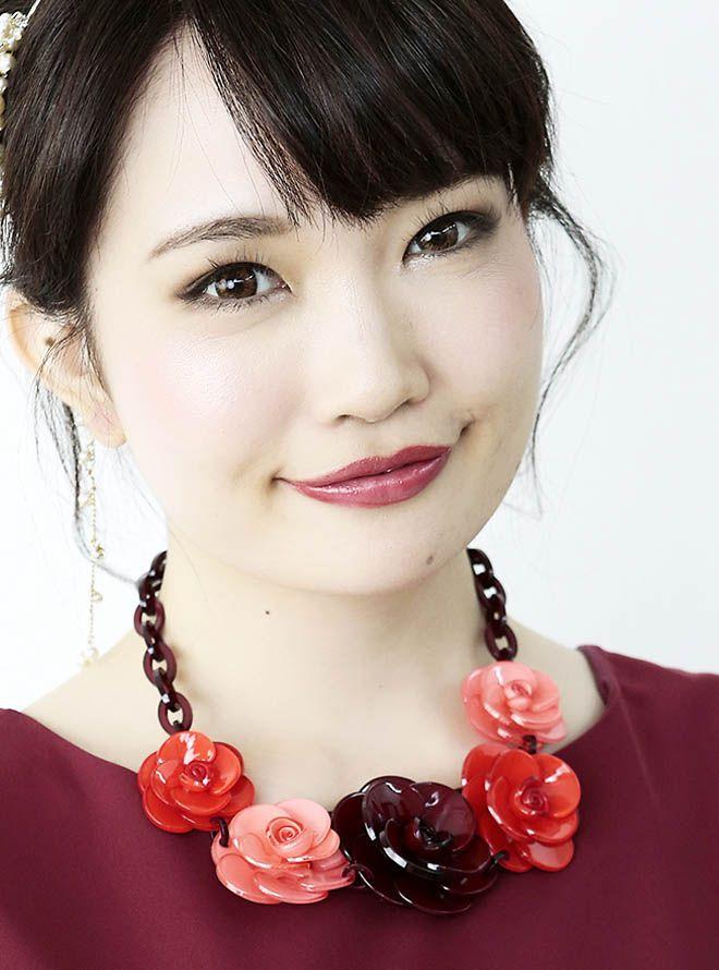 【レンタル】お花モチーフネックレス47cm/花4cm~6cm レッド