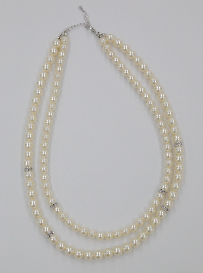 [F] 二連パールシルバー台ネックレス50cm(単品) シルバー