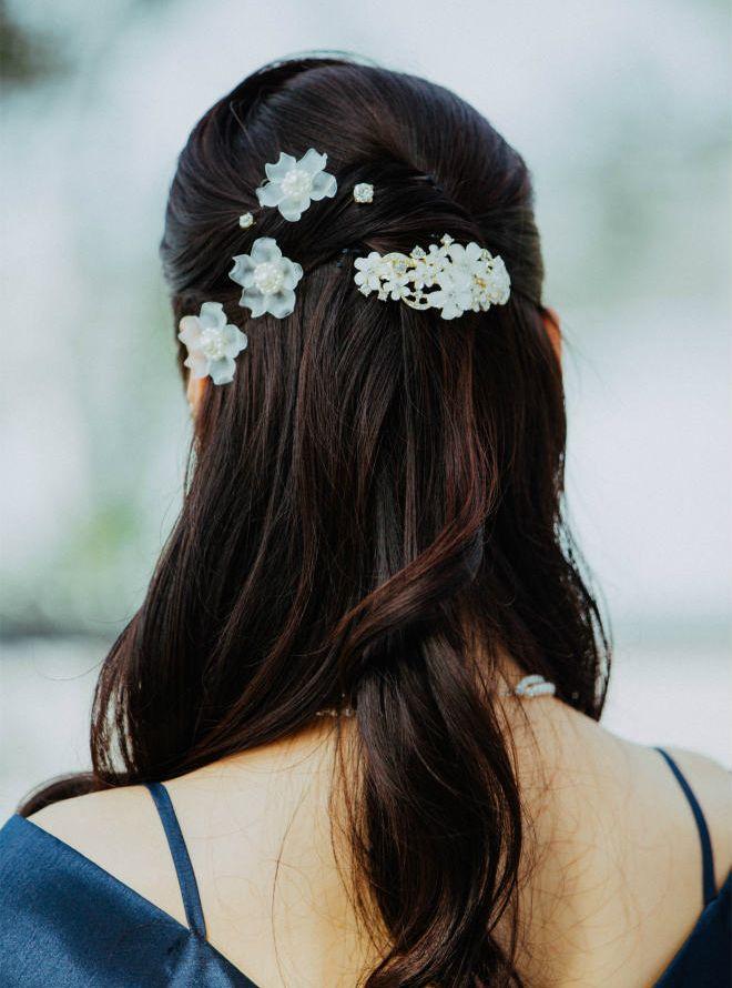 花バレッタ&花ヘアーチャームセット ホワイト