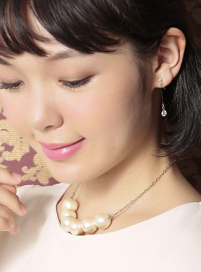 【レンタル】コットンパールシンプルネックレス38cm/(15mm)&ドロップダイヤゴールドイヤリングセット ゴールド